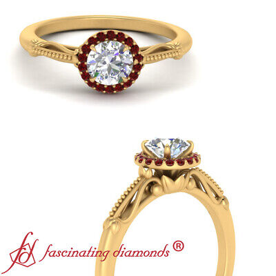 Floral Halo Engagement Ring With 0.85 Ctw Round Cut Diamond And Ruby Gemstone