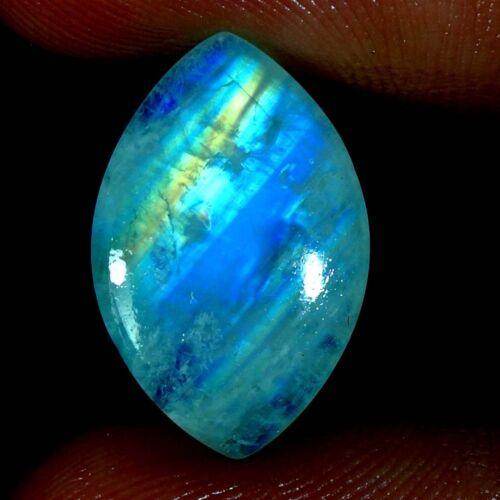 100% Natural Blue Fire Rainbow Moonstone Oval, Pear, Fancy Cab Loose Gemstone