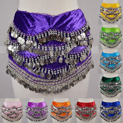 - Silver Coins Sequins Beads Thick Belly Dance Hip Scarf Wrap Belt Velvet