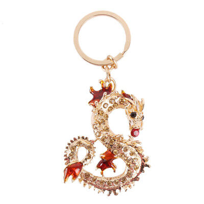 Long Chinese Dragon Crystal Pendant Charm Purse Bag Key Chain Ring Creative Gift