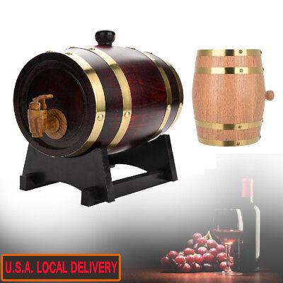 Oak Barrel Wooden Barrel for Storage Aging Wine Whiskey Spirits Wine Barrel US ()