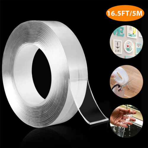 16.5ft Nano Magic Tape Double-Sided Traceless Washable Adhesive Invisible Gel Adhesives & Tape