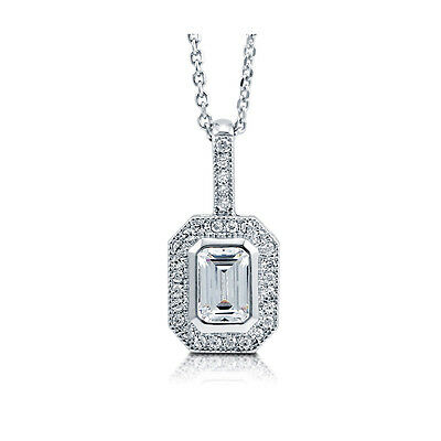 BERRICLE Sterling Silver Emerald Cut CZ Halo Pendant Necklace