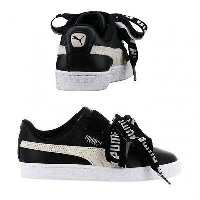 Puma Basket Heart DE Womens Trainers Lace Up Shoes Black/White 364082 01 B12D