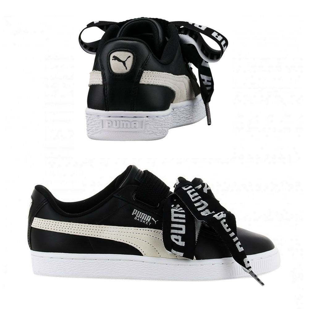 save off 45a7f 27877 Details about Puma Basket Heart DE Womens Trainers Lace Up Shoes  Black/White 364082 01 B12D