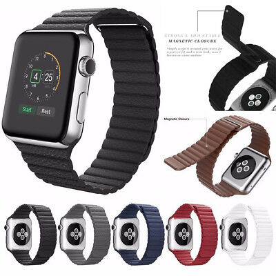 magnetic leather loop band strap for apple