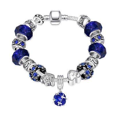 18K White Gold Sapphire Crystal Charm Murano Aqua Blue Glass Bead Bracelet ITALY ()