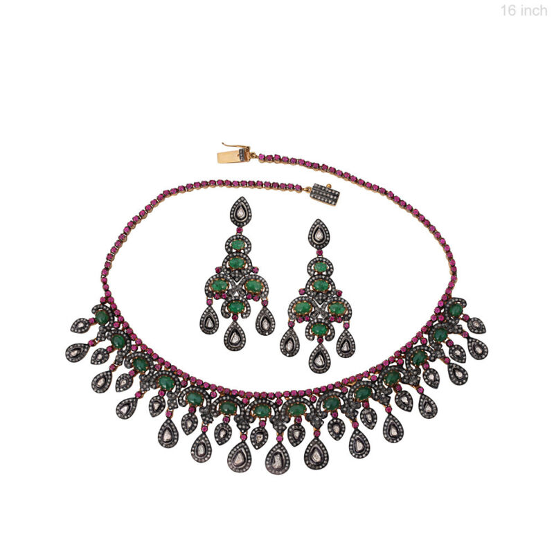 Emerald Ruby Chandelier Earrings & Necklace Set Diamond Pave 14k Gold 925 Silver