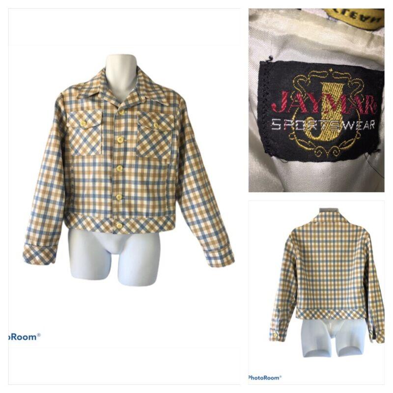 Vtg 70S Jaymar Sportswear Sz 40 Leisure Jacket Checker Blue White Tan Disco Mens