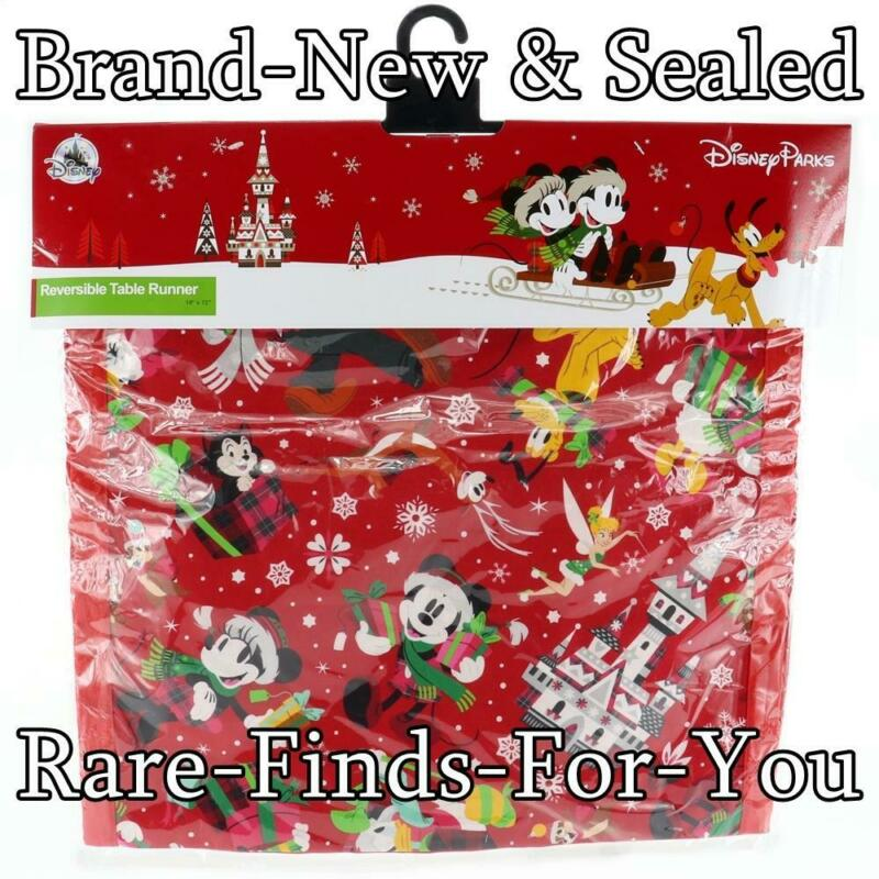 Disney Park Mickey Mouse Nordic Winter Christmas Holiday Reversible Table Runner