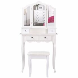 SALE! White Dresser, 3 Mirrors & Stool Set of 4 Drawers Bedroom Desk with Stool