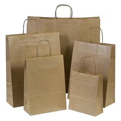 100 Small Brown Kraft Twisted Handles Party Paper Carrier Bags 19cm x 23cm x 8cm