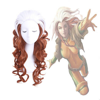 X Men Rogue Anna Marie Brown Mixed White Long Curly Wavy Cosplay Full Wig - X Men Rogue Wig