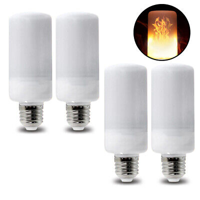 4 5W E26 LED Fire Flame Flicker Light Bulbs for Home, Camping, - Halloween Flickering Light Bulbs