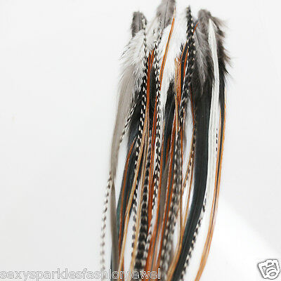 25 NATURAL LONG MIX WHITING GRIZZLY SADDLE FEATHER HAIR EXTENSIONs Clothing, Shoes & Accessories