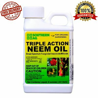 Neem Oil Insecticide Fungicide Triple Action Concentrate Plants Spray Apply 8 Oz