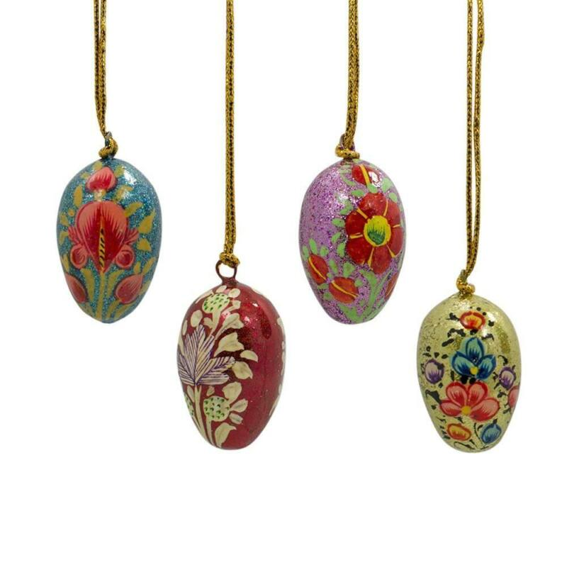 Set of 4 Floral Eggs Wooden Ornaments 1.75 Inches