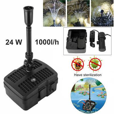 1000L/H 24W Fuente de Bomba Estanque Filtro & UV Luz Jardín