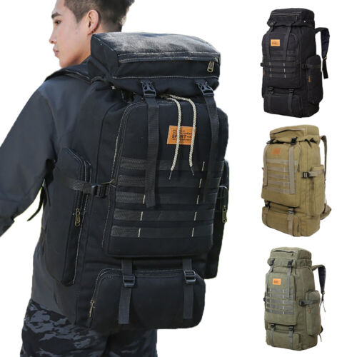 70L Outdoor Military Camping Hiking Trekking Canvas Backpack