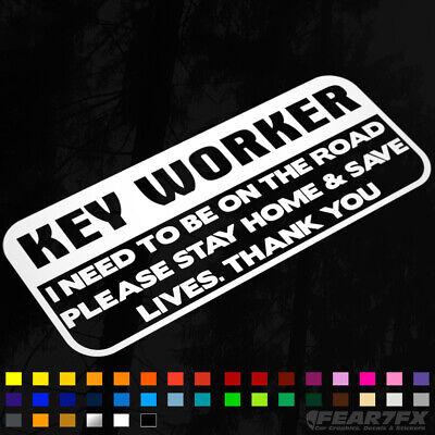 KEY Worker Awareness Vinyl Decal Sticker Car Van Window COVID Corona 19