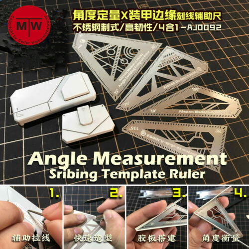 Angle Measurement Scribing Template Ruler Model Building Tools 4in1