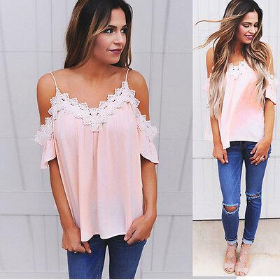 Women Off Shoulder Top Short Sleeve Lace Casual Blouse T-shirt Summer Crop Tops