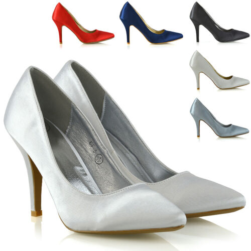 Womens Stiletto Satin Mid Heels Point Toe Ladies Bridal Party Pumps Court Shoes