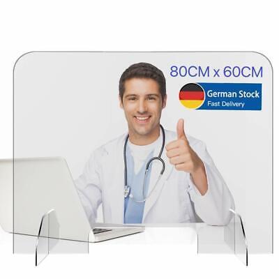 Spuckschutz Thekenaufsteller 80*60cm Acrylglas Schutzscheibe Schutzwand