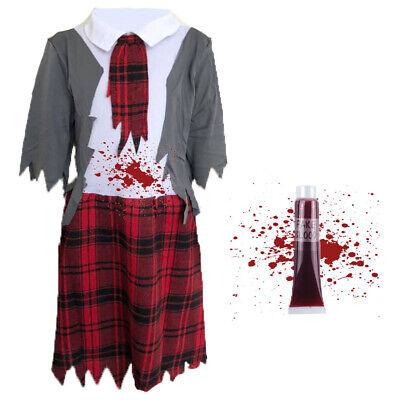CHILDRENS KIDS ZOMBIE SCHOOL GIRL FANCY DRESS COSTUME HALLOWEEN DEAD OUTFIT](Dead School Girl Halloween Outfits)