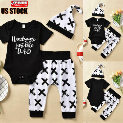 US 3PCS Newborn Baby Boys Printed Romper Tops+Pants+Hat Outfits Clothes Set