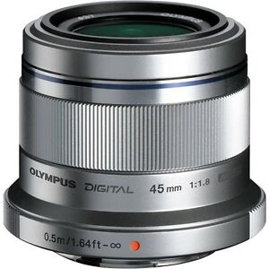 Olympus M. Zuiko Digital ED 45mm f/1.8 Lens (Silver) MINT