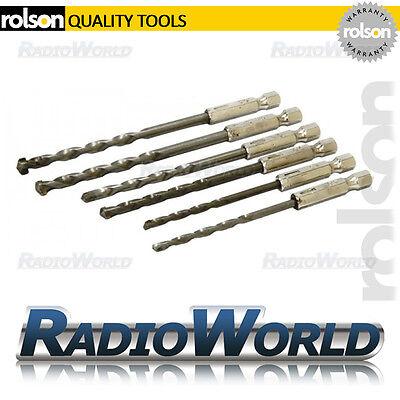 "Rolson 6pc Brick & Masonry Drill Bit Set 1/4"" Hex Shank Building Home DIY"