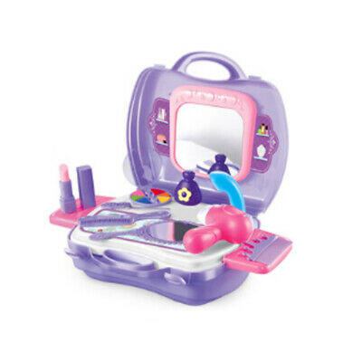 19pcs/set Kids Pretend Play Makeup Vanity Case With Mirror Cosmetic Toy -