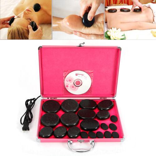 Hot Stone Massage Set Groß Erwärmer Heater Box und 20 Wärmesteine Wärmegerät Spa