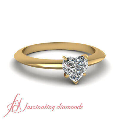 1/2 Ct Heart Shaped FLAWLESS Diamond Solitaire Knife Edge Engagement Ring GIA