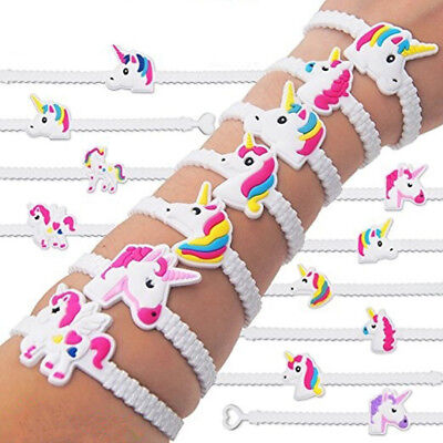 2/10PC Unicorn Wristband Silicone Bracelet Bangles Kids Toy
