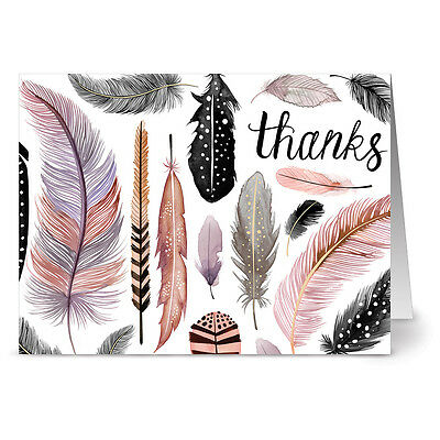 24 Note Cards - Thanks Feather Motif - Gray Envs