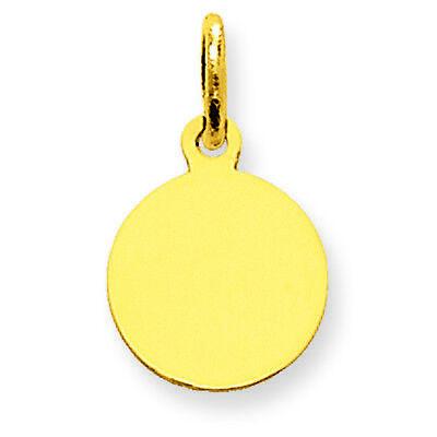 (14K Yellow Gold .009 Gauge Circular Engravable Disc Charm Pendant MSRP $88)