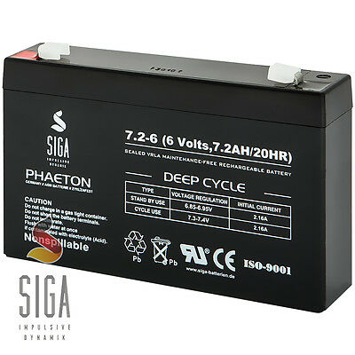 AKKU 6V 7,2Ah Batterie Blei Gel PEG PEREGO SOLAR USV Notstrom 7Ah 6 Volt