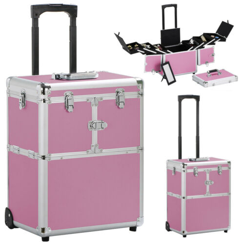 19'' Aluminum Trolley Makeup Case Rolling Beauty Cosmetic...