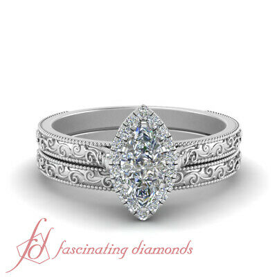 Vintage Style 0.60 Ct. Marquise Cut Diamond Milgrain Halo Wedding Ring Set GIA