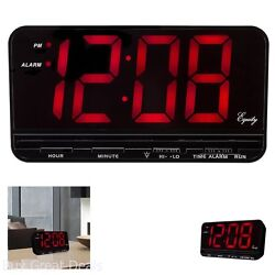 Brand New Black Equity 3In Large Red LED Display Desk Digital Alarm Clock Snooze
