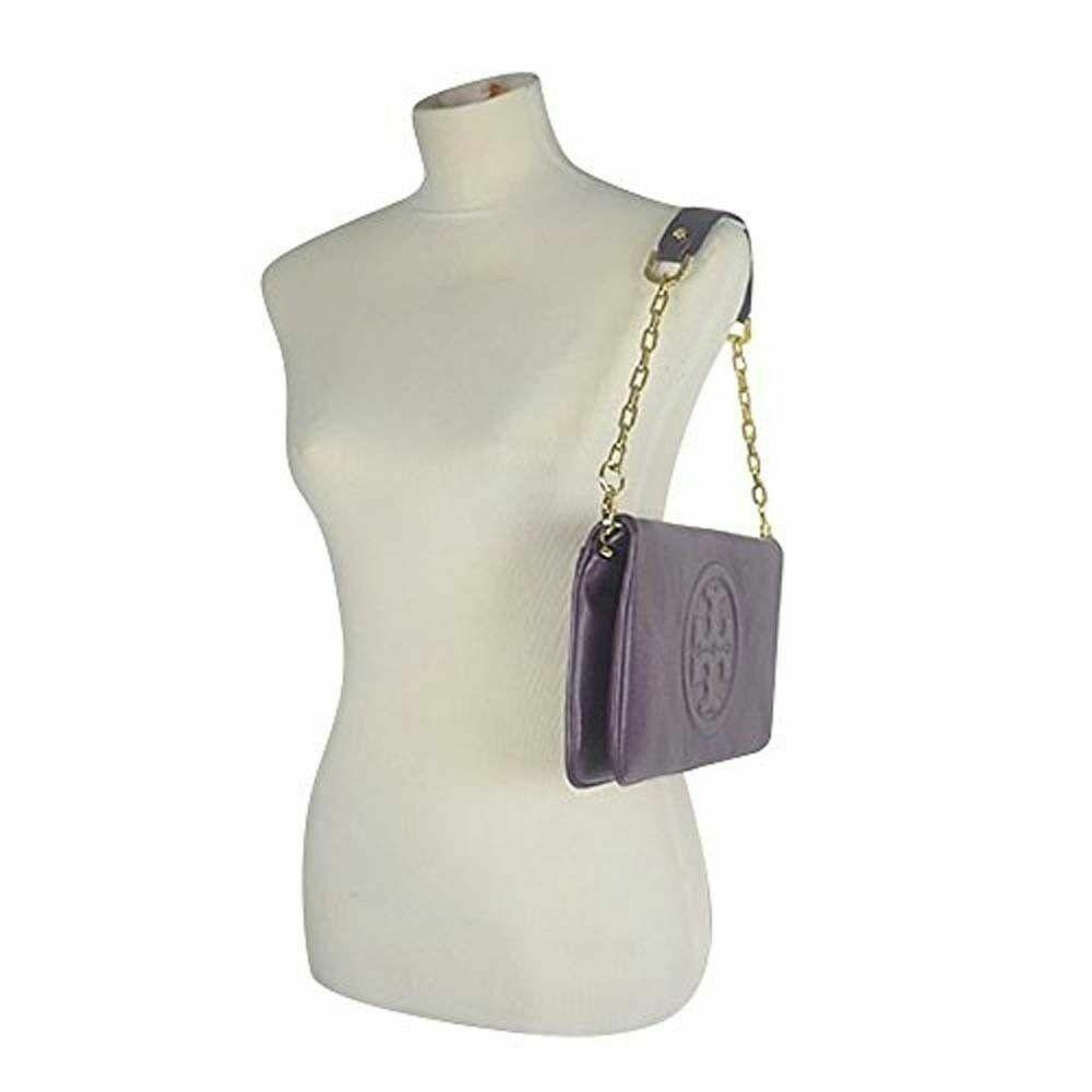 35e90d0f44 Tory Burch BOMBE Reva Clutch Logo Shoulder Handbag Purse WILD PLUM $350