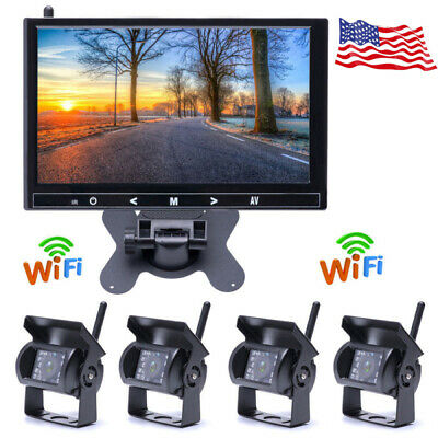"9"" Monitor + 4 X Wireless Rear View Backup Night Vision Camera for RV Truck Bus"
