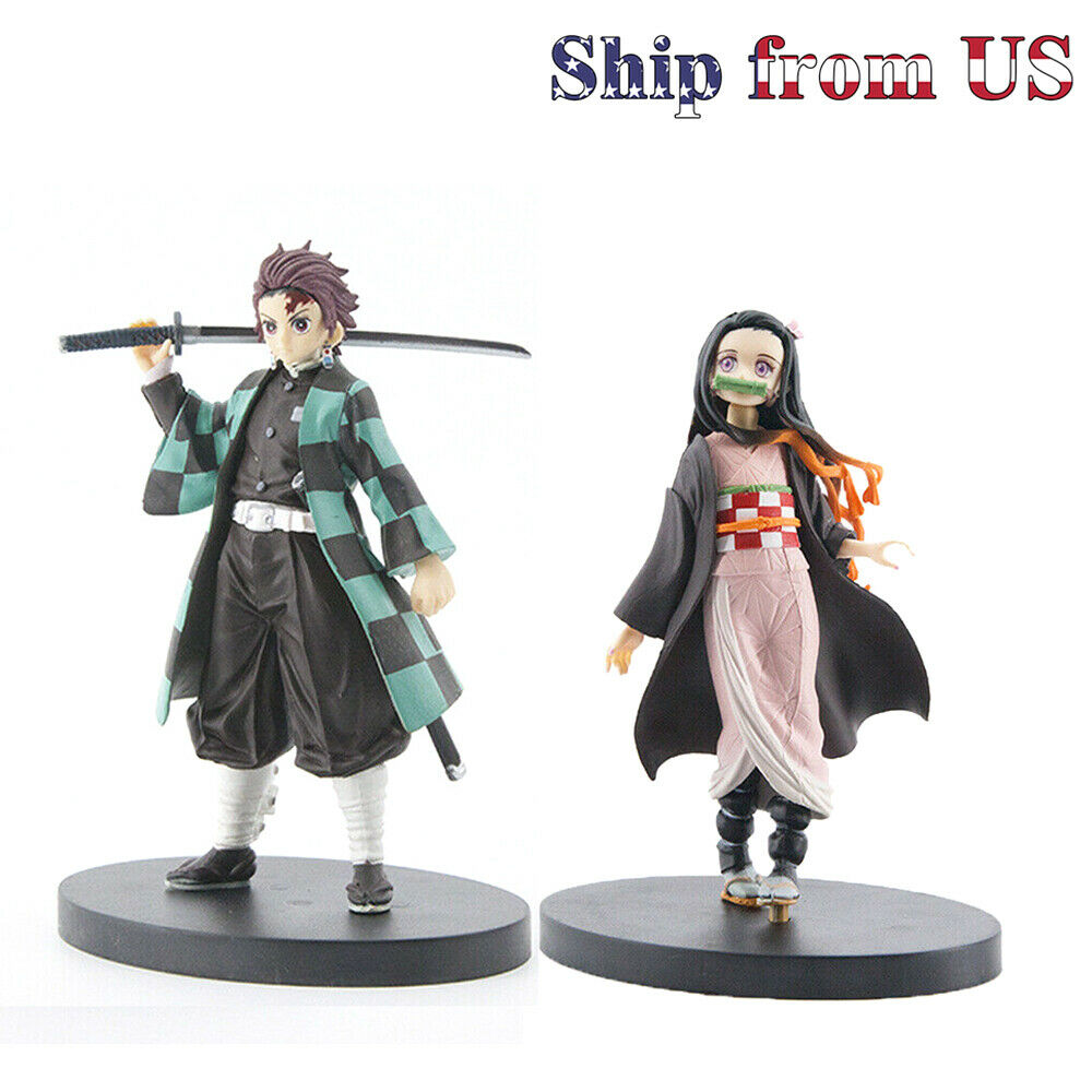 2 pcs Demon Slayer: Kimetsu no Yaiba Kamado Nezuko & Tanjirou Action Figures Set Animation Art & Characters
