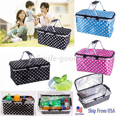 Basket Lunch Picnic Food Folding Insulated Cooler Camping Bag - Lunch Basket