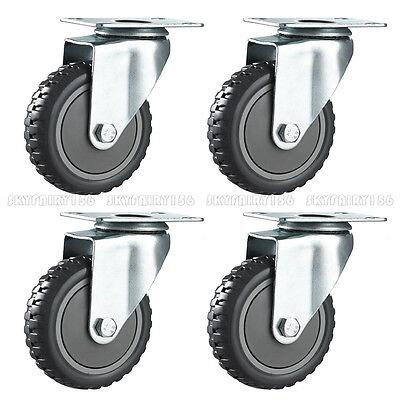 2 4 Pack 3 Swivel Caster Wheels Polyurethane Steel Top Plate Heavy Duty Black