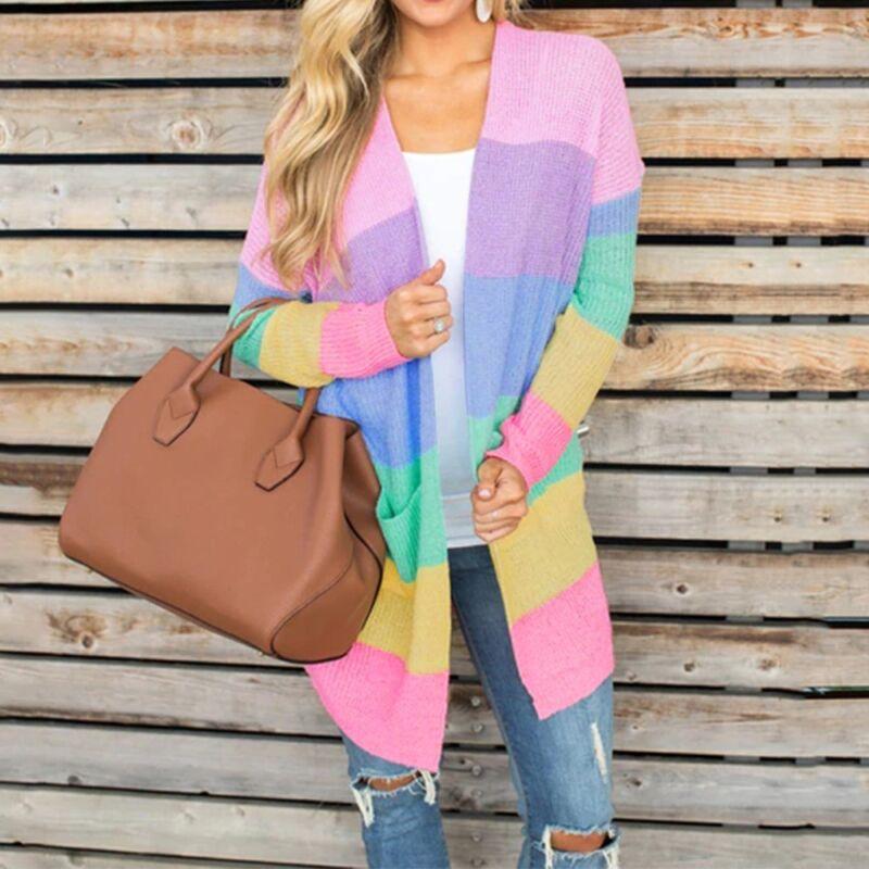 Plus Size Women Long Sleeve Rainbow Stripe Cardigan Tops Swe