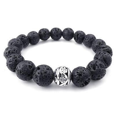 Charm Mens Black 12mm Silver Energy Lava Rock and Silver Bead Bangle Bracelet