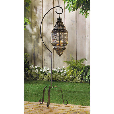 """MOROCCAN STYLE CANDLE HOLDER LANTERN WITH STAND IRON 41"""" TALL ~12575"""